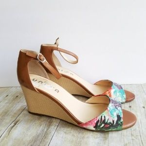 Unisa Floral + Leather Wedges Size 7